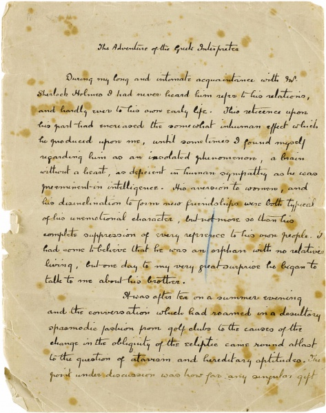 "Photo du manuscrit de Conan Doyle pour l'aventure de Sherlock Holmes, ""The adventure of the Greek Interpreter"""