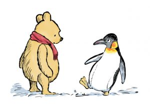 "Photo de Winnie The Pooh and Penguin, ""The Best Bear In All The World"" - illustration by Mark Burgess . Credit : Trustees of the Pooh Properties/The Shepard Trust/PA Wire"